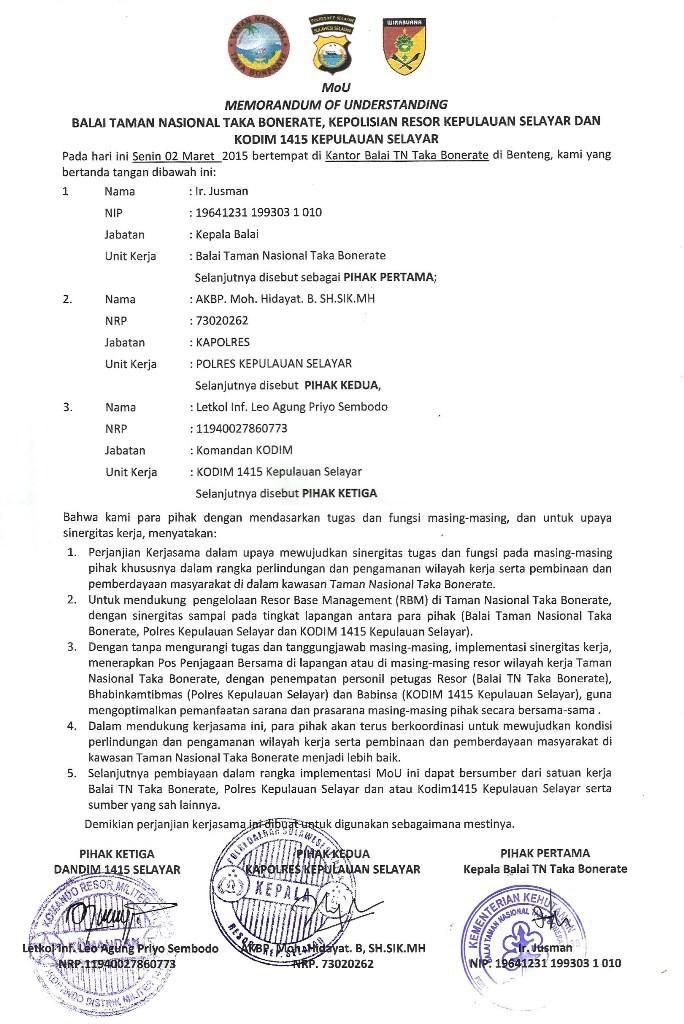 dokumen MOU TNTBR POLRI TNI